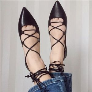 Banana Republic | Allie Lace Up Pointed Flats